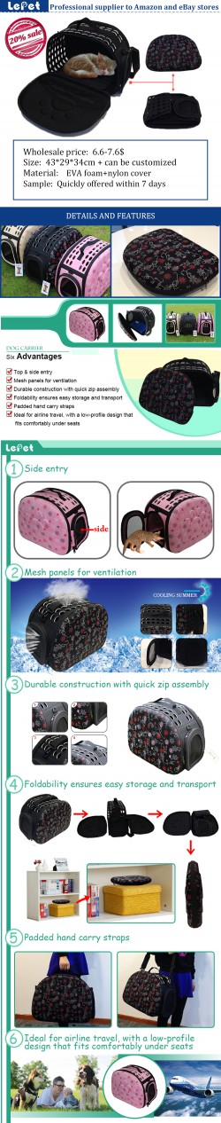 Manufacturer wholesale Comfort travel EVA foam portable pet carrier dog purse carrier